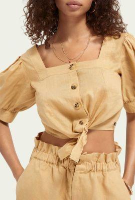 beige linnen crop top met knoop detail 161474