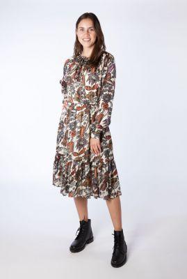 ecru kleurige midi jurk met botanische print 161511