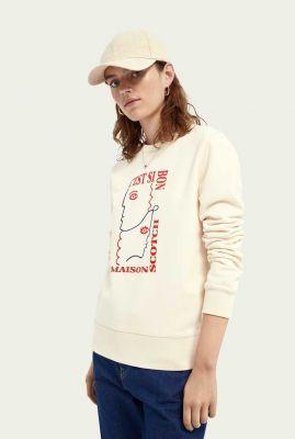 ecru kleurige sweater met grafische gezichten opdruk 161673