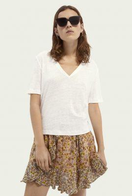 linnen basis t-shirt met v-hals 161722