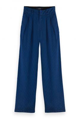 donkerblauwe broek met fijn gestreept dessin 162650