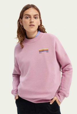 licht roze oversized sweater met gekleurde opdruk 163744