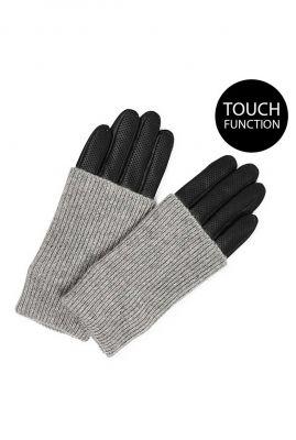 leren handschoenen met grijze wol helly perforated