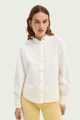 off-white blouse met broderie detail 164084