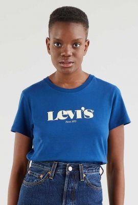 blauw t-shirt met witte logo opdruk the perfect tee 17369-1493