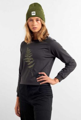 grijze sweater met geborduurd blad ystad raglan fern 17936