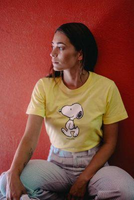geel t-shirt van bio katoen met Snoopy opdruk mysen 18202