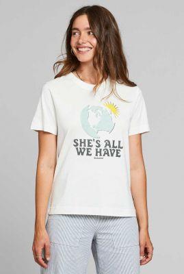 wit t-shirt met wereld en zon opdruk mysan 18310