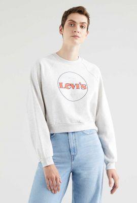 cropped sweater met vintage logo opdruk 18722-0015