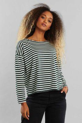 groen wit gestreept shirt van tencel 19015 humledal stripes