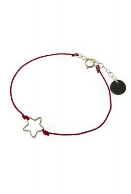 armband met zilveren ster silhouet en rood koordje 1902a71