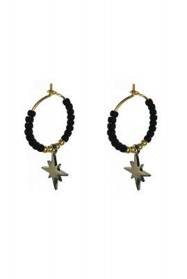 gouden oorbellen met zwarte kralen en gouden ster 1902b70