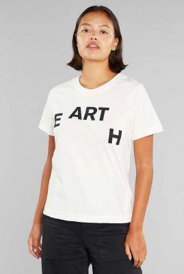 wit t-shirt van bio katoen met opdruk 19210 mysen earth