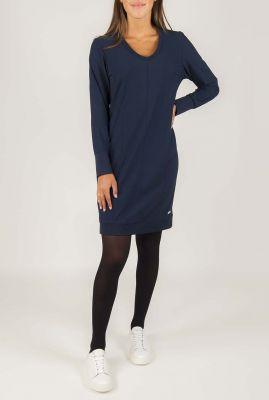 gladde donkerblauwe jurk met deelnaden 194debby