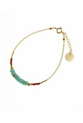 gouden armband met witte en turquoise kralen 2001A03