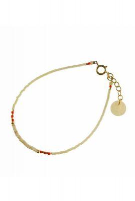 gouden armband met fijne witte en rode kralen 2001A10