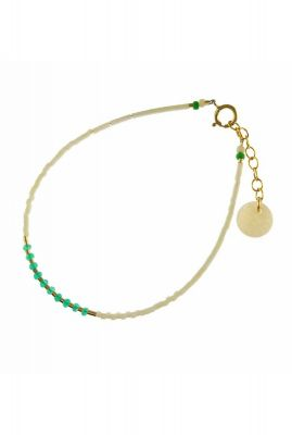 gouden armband met witte, groene en gouden kralen 2001A28