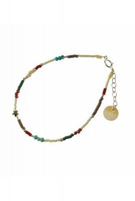 zilveren armband met gekleurde kralen en ster bedel 2001A47