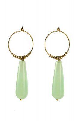 gouden oorbellen met licht groene hanger 2001B16