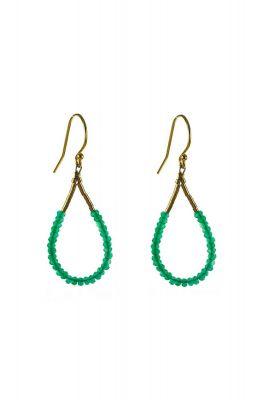 gouden open oorbellen met groene kralen 2001B18