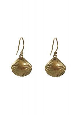 gouden oorbellen met schelp hanger 2001B30