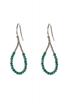 zilveren open oorbellen met turquoise kralen 2001B69