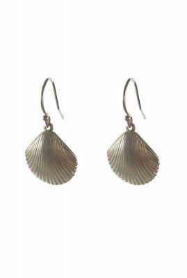 zilveren oorbellen met schelp hanger 2001B77