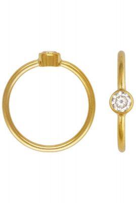 dunne gouden ring met witte zirkonia steen maat M 2001R38