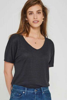zwart linnen t-shirt met v-hals bailee tee 20303310