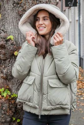 korte puffer jacket met teddy capuchon leicester 21331619
