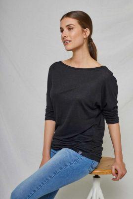zwart linnen shirt met boothals bali tee 20353410