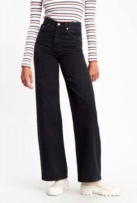 zwarte high waist broek met wijde pijpen ribcage wide leg 79112-0007