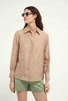 beige blouse met jacquard geweven luipaard print 162027