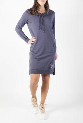 blauwe sweat jurk met waterval kraag 211nanda