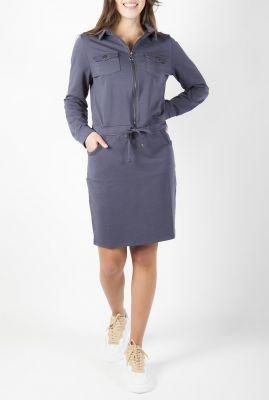 blauwgrijze jurk met rits en tunnelkoord 211robin