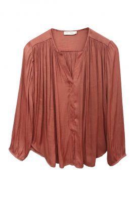 roest kleurige soepel vallende blouse met v-hals 21211063