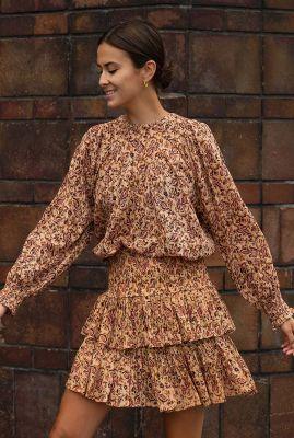 katoenen blouse met all-over paisley print bobbie block blouse