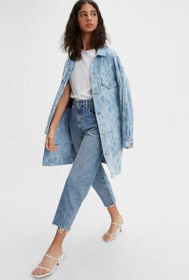 high waist cropped jeans van bio katoen barrel jeans 29315-0021