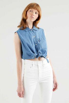 mouwloze denim blouse met knoop detail rumi button shirt 29958-0001