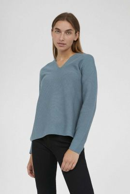 blauwe trui met v-hals faarina 30001393