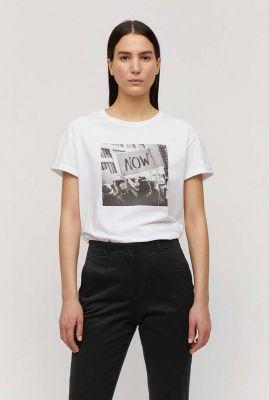 wit bio katoenen t-shirt met zwart wit print naalin now 30001992