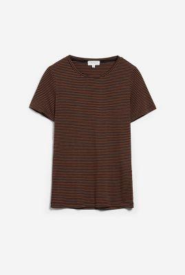 bruin gestreept t-shirt met ronde hals lidiaa ring stripes 30002086