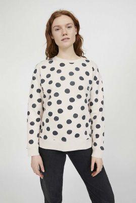 crème kleurige sweater met stippen dessin kaamile 30002228