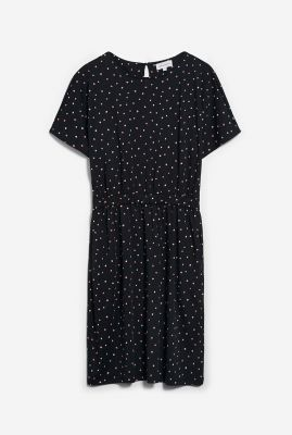 zwarte mini jurk met stippen dessin tadinaa watery dots 30002273