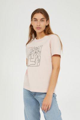 licht roze katoenen t-shirt met alpaca opdruk maraa 30002305