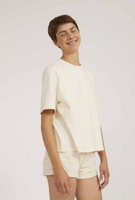 crème kleurig t-shirt van ongeverfd katoen met ronde hals layaa 30002787