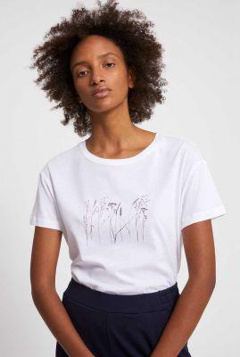wit katoenen t-shirt met bloemen opdruk nelaa grasses 30003142