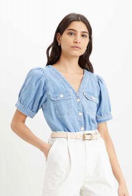 lichte denim blouse met pof mouwen brynn shirt 34621-0001