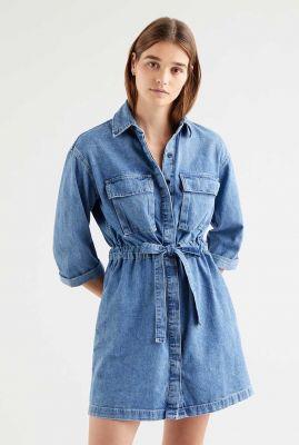 denim jurk met ceintuur ainsley utility denim dress 34977-0002