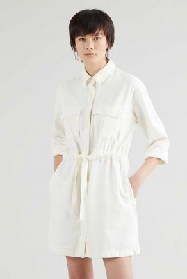 ecru jurk met 3/4 mouw en tunnelkoord ainsley utility dress 34977-0003